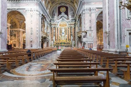 NAPLES, ITALY, DECEMBER 02,2017 : Beautiful ceiling above Gesu Nuovo (Italian: New Jesus) church in Naples, Italy