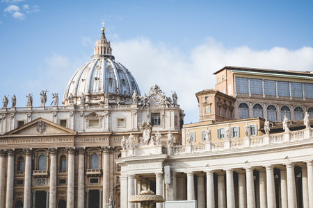 Detail of the Palace of the Vatican, The Dome. View of Piazza San Pietro in Rome.