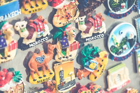 Souvenir fridge magnets for sale representing Morocco. Stock Photo
