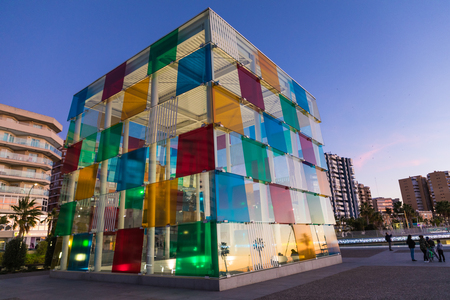 MALAGA, SPAIN - JANUARY 01, 2018: Pompidou centre in Malaga, Spain. It is the second most populous city of Andalusia and the sixth largest in Spain.