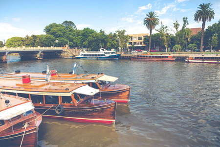 TIGRE, ARGENTINA - JANUARY 31, 2018 : Maritime transport in El Tigre port. Tigre is an important city in the province of Buenos Aires, Argentina. Editorial