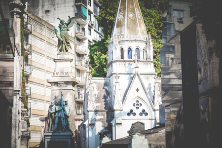 Monuments at Recoleta Cemetery, a public cemetery in Buenos Aires, Argentina.  写真素材