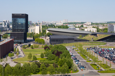 KATOWICE, POLAND - MAY 05, 2018: Entertainment hall called Spodek in city center of Katowice, Silesia. Publikacyjne