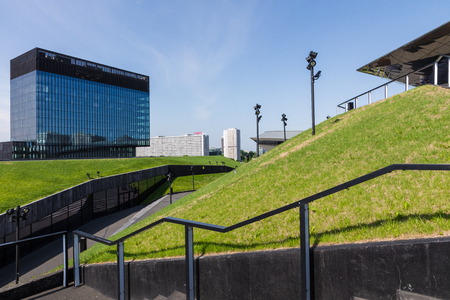 KATOWICE, POLAND - MAY 05, 2018: Fragment of a green passage across the roof of recently launched modern complex, The International Conference Centre. Silesia, Katowice. Publikacyjne