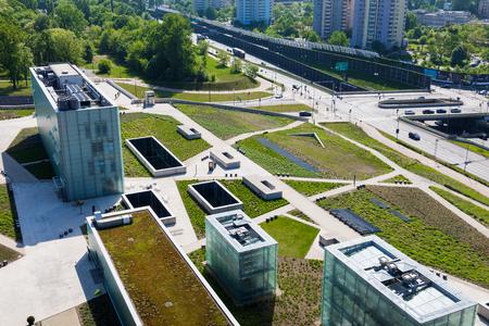 KATOWICE, POLAND - MAY 05, 2018: Panoramic view in modern district of Katowice, Silesia, South of Poland. Publikacyjne