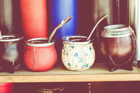 Mate gourds for sale as popular souvenirs from Argentina and Uruguay. Stockfoto