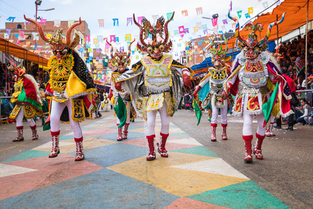 ORURO, BOLIVIA - FEBRUARY 10, 2018: Dancers at Oruro Carnival in Bolivia, declared UNESCO Cultural World Heritag on February 10, 2018 in Oruro, Bolivia