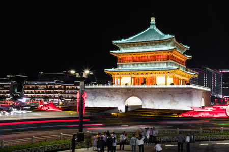 XIAN, CHINA - MAY 23, 2018: Famous Bell Tower in the Xian city, China. Xian is capital of Shaanxi Province and one of the oldest cities in China. Xian is the starting point of the Silk Road and home to the Terracotta Army.