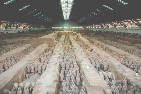 XIAN, CHINA - MAY 24, 2018: The Terracotta Army warriors at the tomb of China's First Emperor in Xian. Unesco World Heritage site.