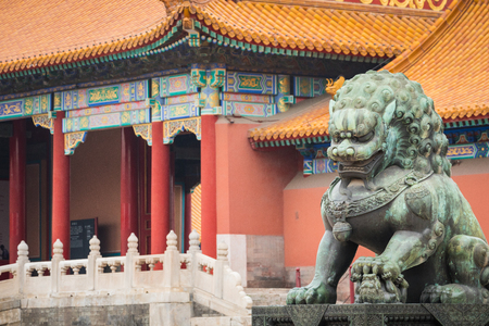 Bronze lion in front of the Hall of Supreme Harmony in Beijing Forbidden City, Forbidden City is one of China's landmarks Stock fotó - 105576413
