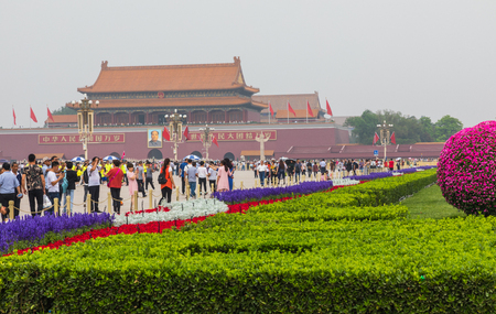 BEIJING, CHINA - 20 MAY 2018: Tianamen square and entrance to the Forbidden City. Square of Heavenly Peace with tourists. Sajtókép