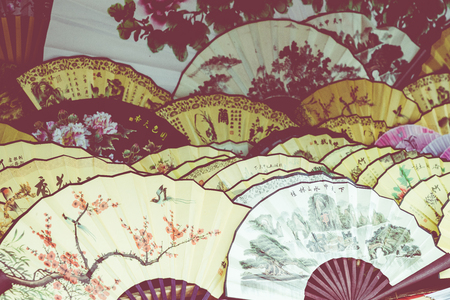 Traditional handicraft chinese fans at market in Yangshuo, China. Editoriali
