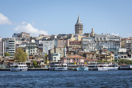 ISTANBUL, TURKEY - AUGUST 20, 2018: Cityscape with Galata Tower and Gulf of the Golden Horn in Istanbul, Turkey. Editorial