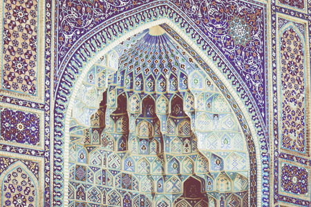Detail of Gur-E Amir Mausoleum, the tomb of the Asian conqueror Tamerlane or Timur, in Samarkand, Uzbekistan Editorial