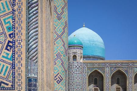Fragment of Registan Square Mosque and Madrasah complex in Samarkand, Uzbekistan