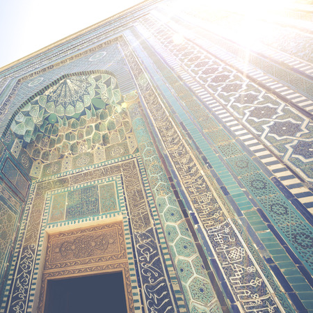 Detail of the facade of the historical holy cemetery of Shahi Zinda in Samarkand, Uzbekistan. Editorial
