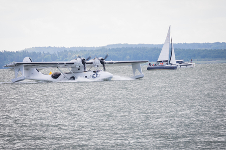 GIZYCKO, POLAND - AUGUST 5, 2018: Flight Boat Consolidated PBY Catalina at Air Show Mazury 2018 event at the lake Niegocin in Gizycko. Poland.