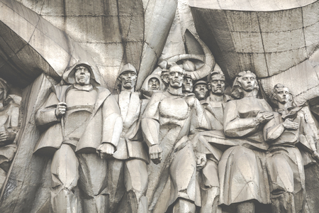MINSK, BELARUS - SEPTEMBER 12, 2018: Bas-relief of the Soviet era on old facade building on Nemiga Street in Minsk, Belarus.
