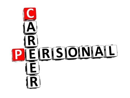 3D Rendering Crossword Personal Career over white background.