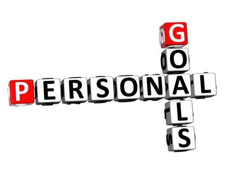 3D Rendering Crossword Personal Goals over white background.