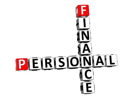 3D Rendering Crossword Personal Finance over white background. 写真素材 - 114115992