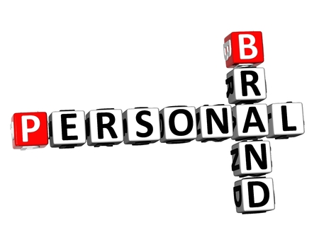 3D Rendering Crossword Personal Brand over white background.