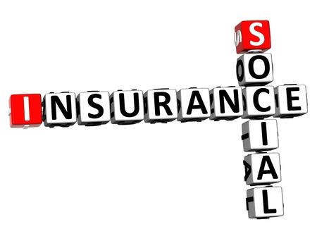 3D Rendering Crossword Social Insurance Word Over White Background.