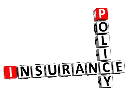 3D Rendering Crossword Policy Insurance Word Over White Background.