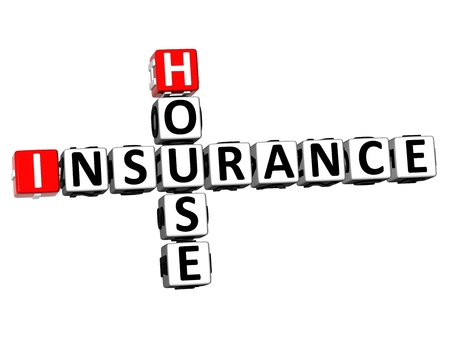 3D Rendering Crossword House Insurance Word Over White Background.