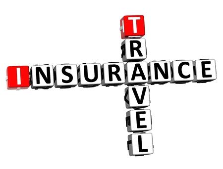 3D Rendering Crossword Travel Insurance Word Over White Background. Stock Photo