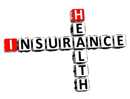 3D Rendering Crossword Health Insurance Word Over White Background.