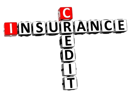 3D Rendering Crossword Credit Insurance Word Over White Background. Stock Photo