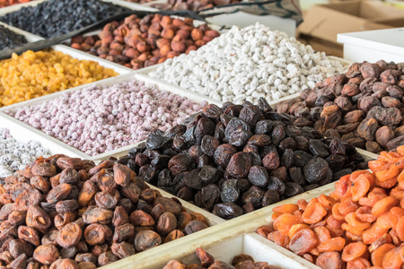 Dried fruits and nuts on local food market in Tashkent, Uzbekistan