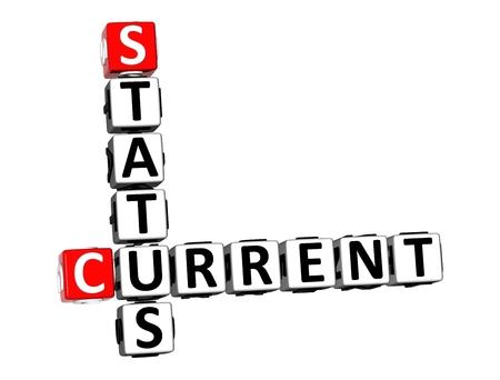 3D-Rendering Kreuzworträtsel aktuellen Status auf weißem Hintergrund.