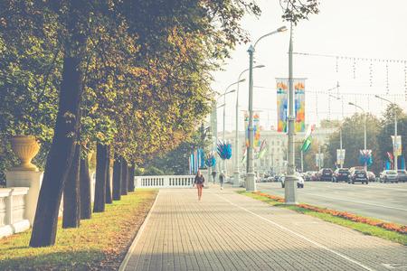MINSK, BELARUS - SEPTEMBER 11, 2018: View of the old historic center of Minsk, Belarus.