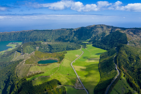 Aerial view of Sete Cidades at Lake Azul on the island Sao Miguel Azores, Portugal. Photo made from above by drone.