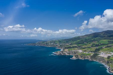 Aerial view of Atlantic coast at Vila Franca do Campo, Sao Miguel island, Azores, Portugal.. Photo made by drone. Фото со стока