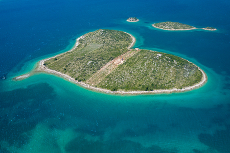 Aerial view of heart shaped island of Galesnjak in Zadar archipelago. Dalmatia region of Croatia.