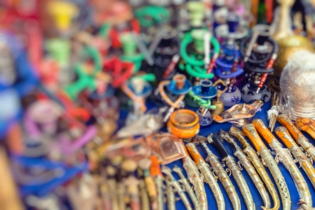 Colorful souvenirs for sale on the street in a shop in Morocco. Stock Photo