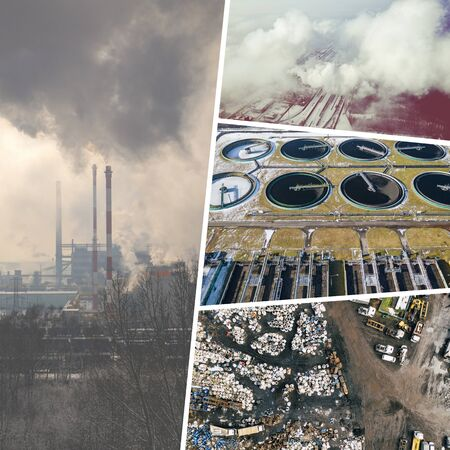 Collage of aerial vief of environmental degradation from above. Conceptual background. View from above.