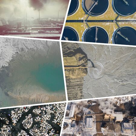 Collage of aerial view on industrial activity and pollution. Concept background. Aerial view.