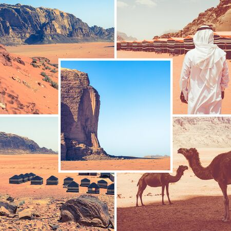 Collage of Wadi Rum Desert - Red Desert ( Jordan ) - travel background (my photos)
