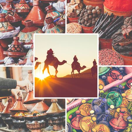 Collage of popular tourist destinations in Morocco. Travel background. Stock fotó