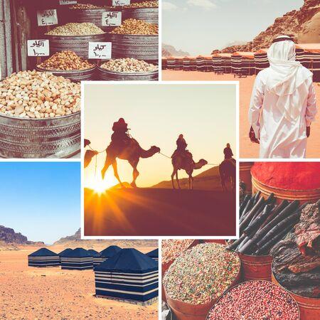 Collage of Wadi Rum Desert - Red Desert ( Jordan ) - travel background (my photos)