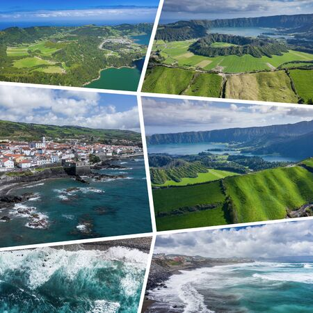Collage of popular tourist destinations in Azores Islands. Portugal. Travel background. Aerial view. Stok Fotoğraf