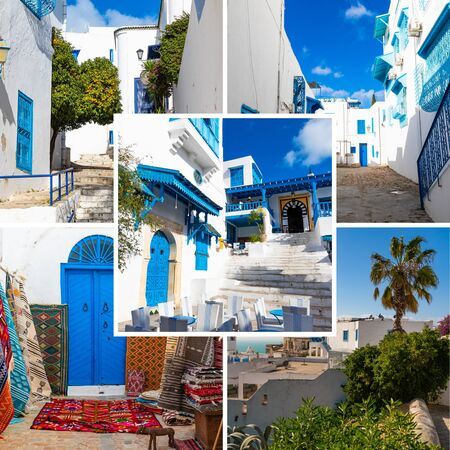 Collage of popular tourist destinations in Tunisia. Travel background. Reklamní fotografie