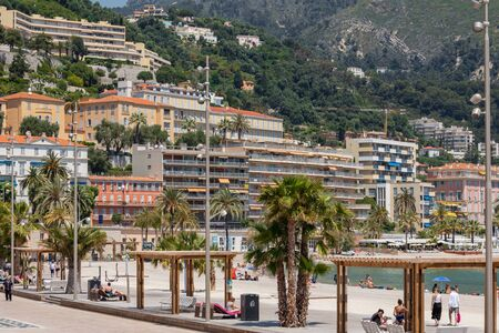 MENTON, FRANCE - JUNE 05, 2019: Old town architecture of Menton on French Riviera. Provence-Alpes-Cote dAzur, France.
