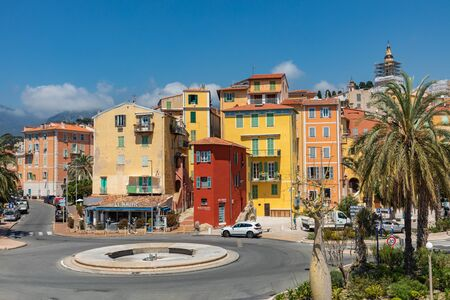 MENTON, FRANCE - JUNE 05, 2019: Colorful houses in old town architecture of Menton on French Riviera. Provence-Alpes-Cote dAzur, France. Publikacyjne