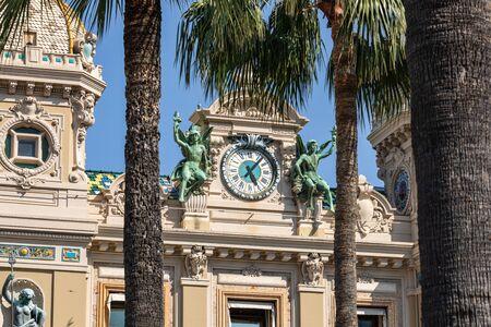 MONTE CARLO, MONACO - JUNE 04, 2019: Casino building facade in a sunny summer day in Monte Carlo, Monaco. Editorial