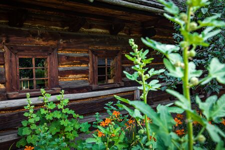 Wooden cottage in heritage park. Upper Silesian Ethnographic Park in Chorzów.